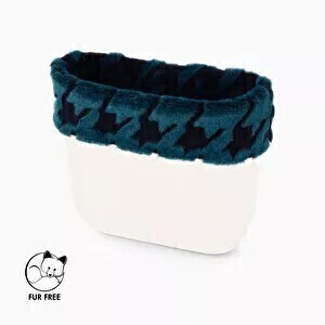 O bag mini trim faux fur lasered pied de poule navy blue + teal