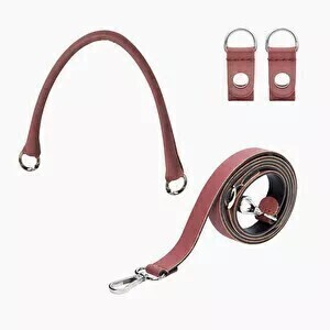 O bag set: short tubular handle with clips + shoulderstrap 110 dark magenta/silver