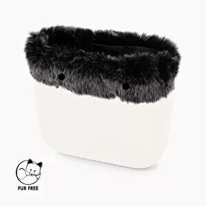 O bag classic trim faux fox fur grey