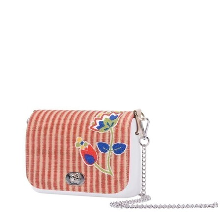 O bag pocket flap straw striped with flower red