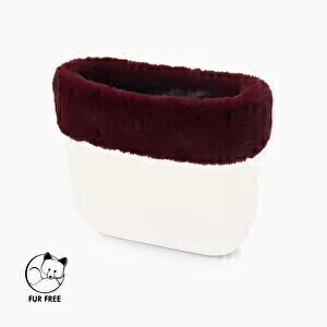 O bag mini trim faux lapin rex fur bordeaux