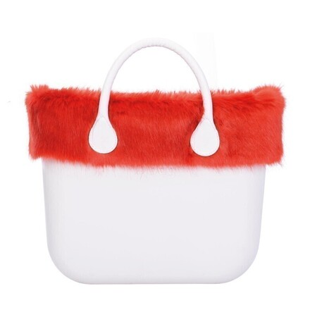 O bag classic trim faux fox fur red
