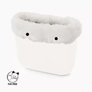 O bag classic trim faux fox fur white