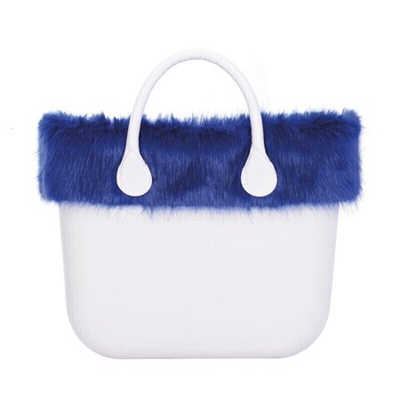 O bag classic trim faux fox fur bright blue