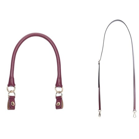 O bag set: short tubular handle with clips + shoulderstrap 110 bordeaux