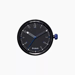 O clock dial 60 seconds blue on black
