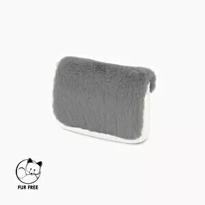O bag pocket flap faux lapin rex fur light grey
