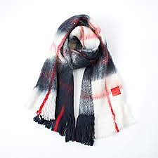 Blanket scarf navy blue + red + ivory