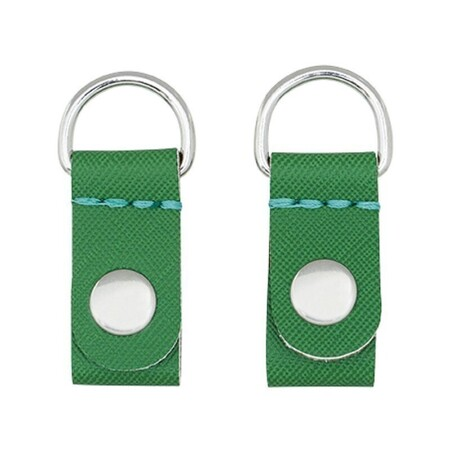 O bag clips saffiano print English green with silver ring