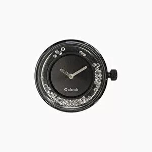 O clock dial shiney crystals black