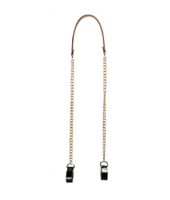 O bag pocket shoulderchain gold with midsection and clips in patent black