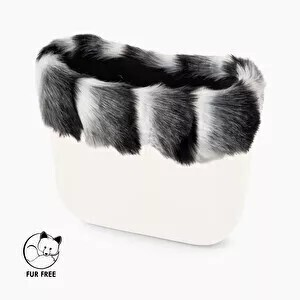 O bag classic trim faux fox fur white/grey/black
