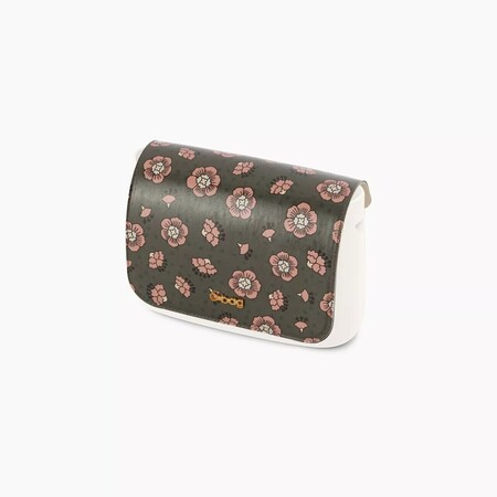 O bag pocket flap dianthus print military/blush pink