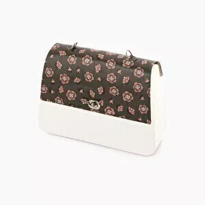 O bag queen flap dianthus print military/blush pink