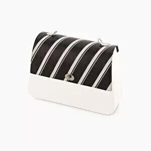 O bag queen flap striped black & white