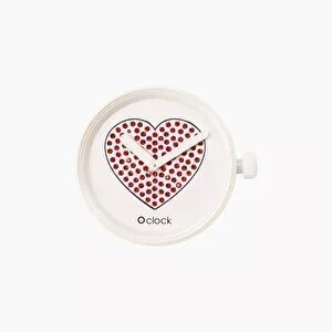 O clock dial sparkling heart red