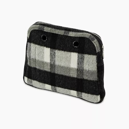 O bag reverse innerbag zip-up wool check effect white/grey/black