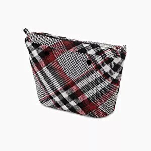 O bag mini innerbag zip-up tartan wool black/white/red