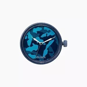 O clock dial metal camouflage navy blue