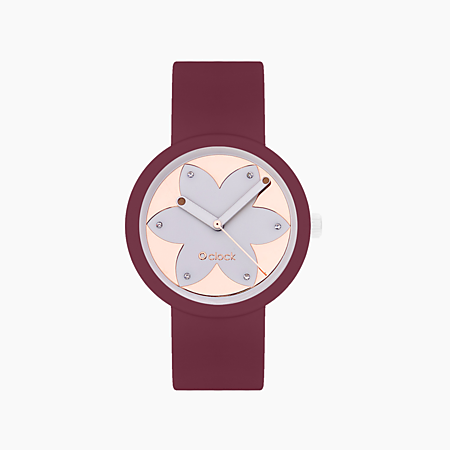 O clock purple with dial metal silver pink gold