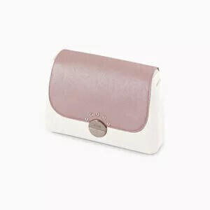 O bag glam flap saffiano with rainbow studs smoke pink metal